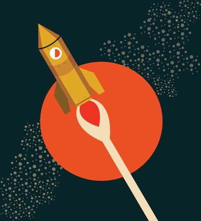 Rocket Ship Flying Through Space  flat and retro design vector illustration Vector