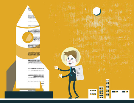 opportunity concept: Businessman with the spaceship  Business Leadership  Explorer and opportunity concept design  vector illustration Illustration
