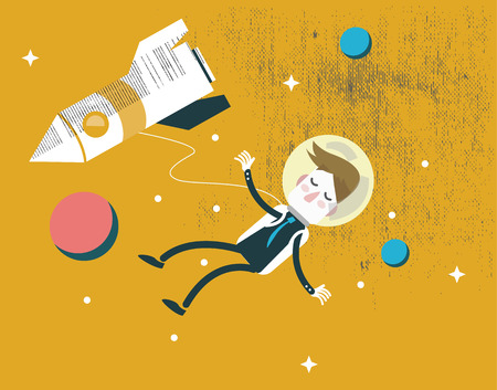 Businessman falling in the space  Business Leadership  silence and deep thinking concept design  vector illustration