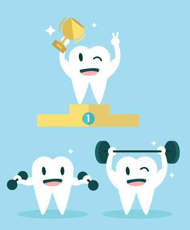 Healthy Teeth  Character set  flat design illustration  vector Vector
