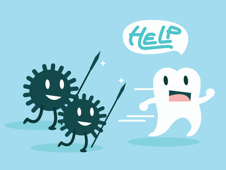 tooth root: Bacteria attacking the teeth  Character set  flat design illustration  vector