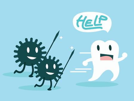 dientes sucios: Las bacterias que atacan los dientes Carácter definen diseño plano ilustración vectorial