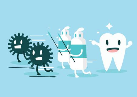 niños malos: Pasta de dientes a proteger los dientes de establecer germen de Carácter diseño plano ilustración vectorial