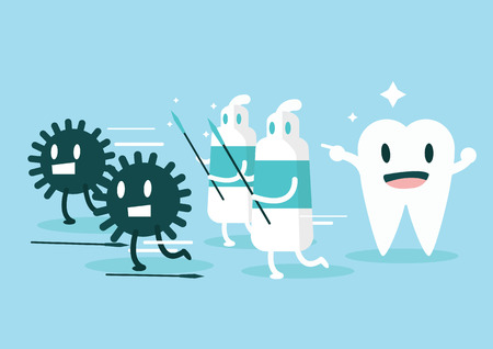 cartoon bug: Toothpaste protect teeth from germ  Character set  flat design illustration  vector