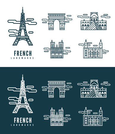 France Landmarks  flat design element  icons set in white and dark background  vector Vector