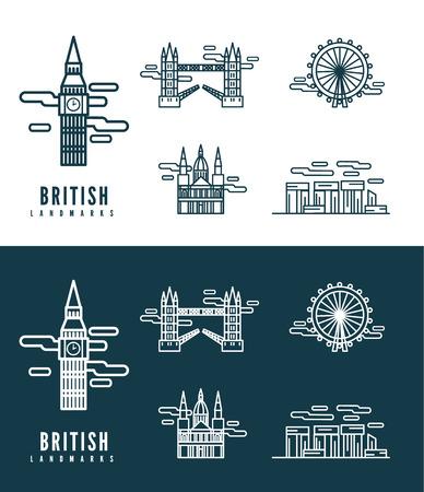 British Landmarks  flat design element  icons set in white and dark background  vector Vector