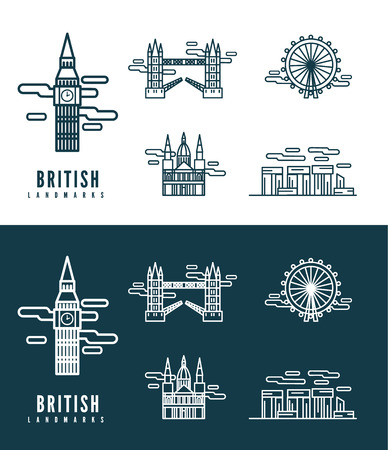 brooklyn: British Landmarks  flat design element  icons set in white and dark background  vector Illustration