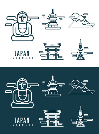 Japan landmarks  flat design element  icons set in white and dark background  flat design vector