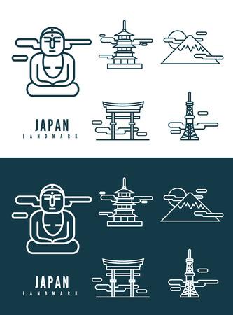 Japan landmarks  flat design element  icons set in white and dark background  flat design vector