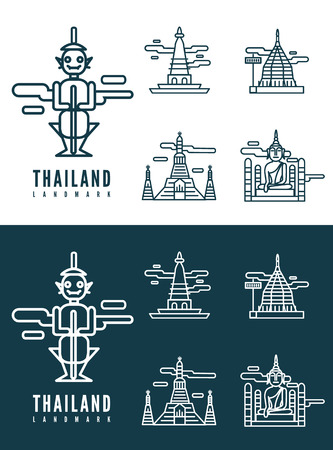 bangkok: Thailand landmarks  flat design element  icons set in white and dark background  vector