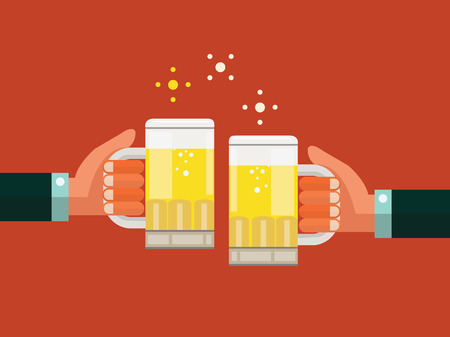 aloft: Two businessmen toasting glasses of beer  Business successful and partnership concept  flat design  vector illustration
