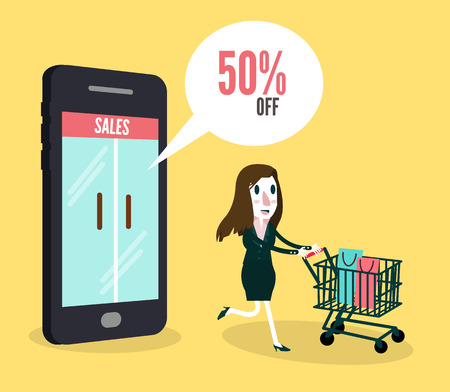 smartphone business: Women shopping online by smartphone  Business and e-commerce concept  vector illustration flat design  Illustration