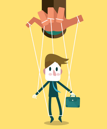 Businessman marionette on ropes controlled hand  vector illustration  flat design