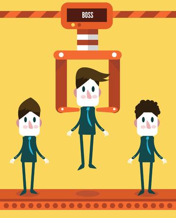 Robotic choosing worker from group of businessmen  business concept  vector illustration  flat design Vector