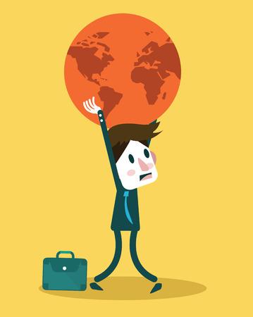 Businessman holding big globe  Big burden concept design  vector illustration flat design element