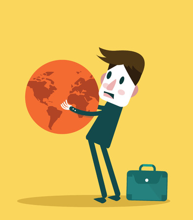 lifting globe: Businessman holding big globe  Big burden concept design  vector illustration  flat design element