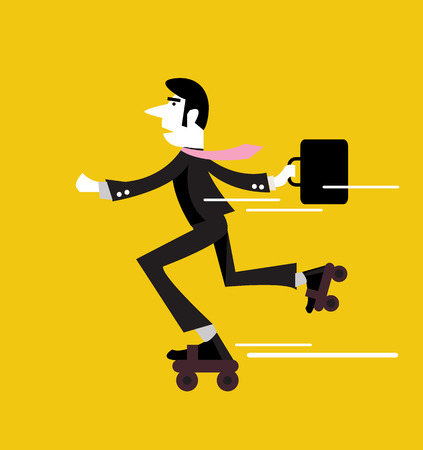 rushing: Businessman roller skating with briefcase  business people design   flat design element  vector illustration