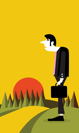 Businessman standing alone sunset view in the background flat design element  vector illustration Vector