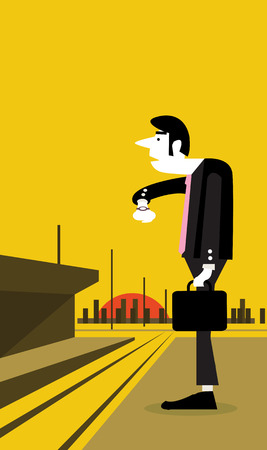 Businessman looking watch and standing at a train station flat design element  vector illustration Vector