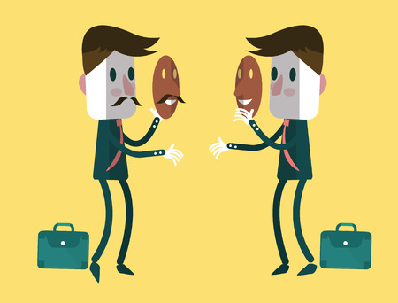 fake smile: Fake businessmen wearing smile mask  Business concept  vector illustration