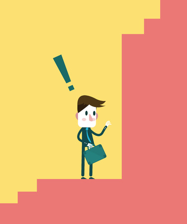 agape: Confused young businessman at the end of the steps, Business concept  vector illustration Illustration
