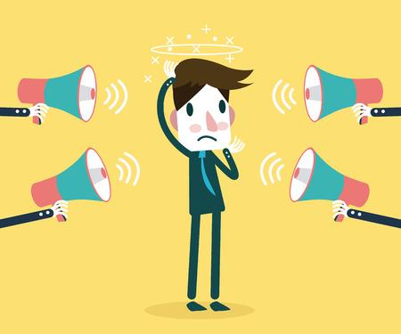 изумление: Многие мегафон кричать на бизнесмена Концепции Прочность при векторные иллюстрации работы