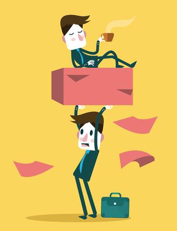 exploit: Businessman work hard alone  Exploit partner concept  vector illustration Illustration