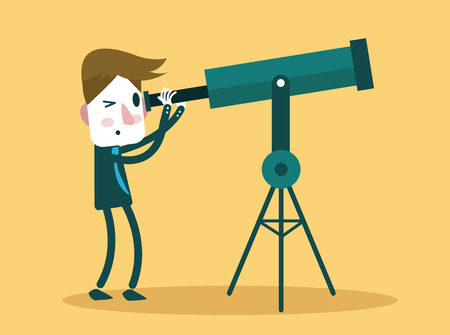 going up: Businessman looks through his Telescope  flat design  vector illustration