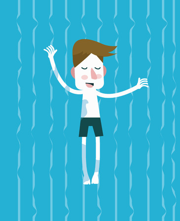 Positive man relaxing and enjoying in the swimming pool  flat vector illustration