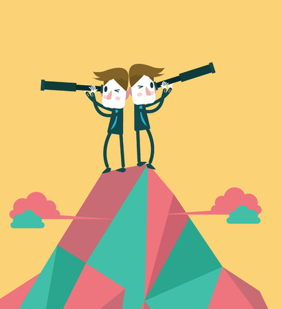Businessmen on the top peak with telescope  Concept of business vision and teamwork  vector illustration Vector