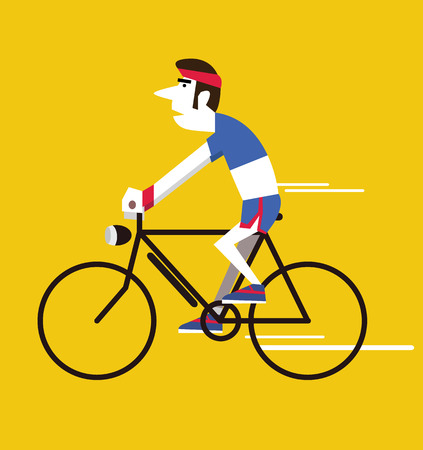 chill out: Retro man riding vintage bike. flat design character. vector illustration