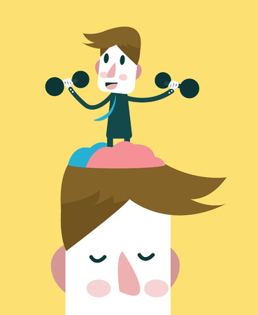 Businessman exercising his brain. knowledge and Vision concept. vector illustration Illustration