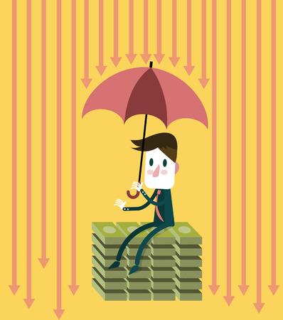 Businessman with umbrella save money. abstract vector illustration Illustration