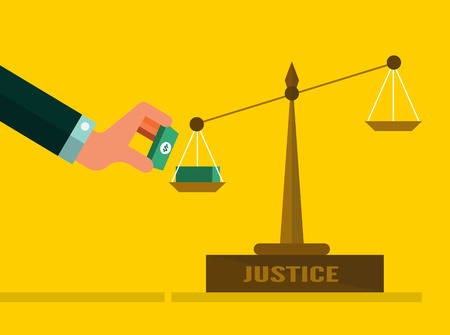balanza en equilibrio: Escalas de la justicia con el dinero. Concepto Corrupción. diseño plano. ilustración vectorial