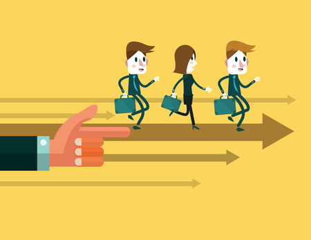 multi ethnic group: Business people run forward, control by big hand .business teams and leadership concept. abstract illustration. vector