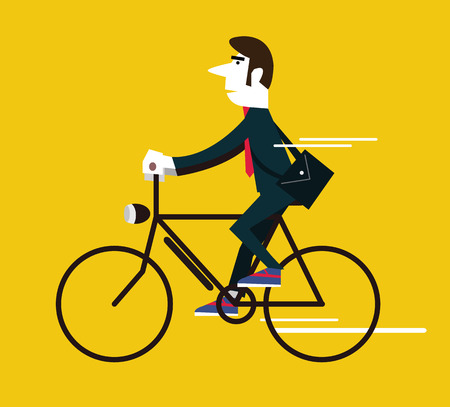 Businessman riding a vintage bike. flat design element .vector illustration