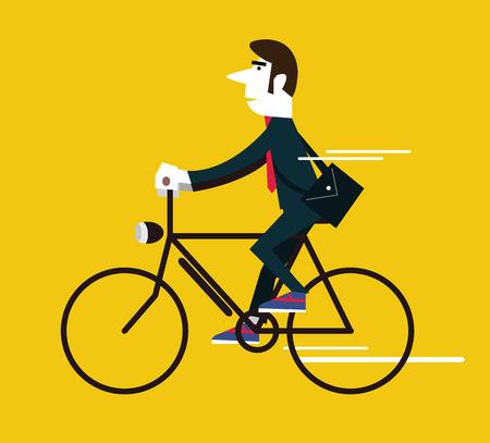 environmental suit: Businessman riding a vintage bike. flat design element .vector illustration