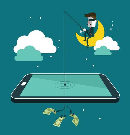 Sociaal netwerk dief stelen van geld door vissen dollar biljet van portemonnee op het scherm van de smartphone. Platte ontwerp vector illustratie