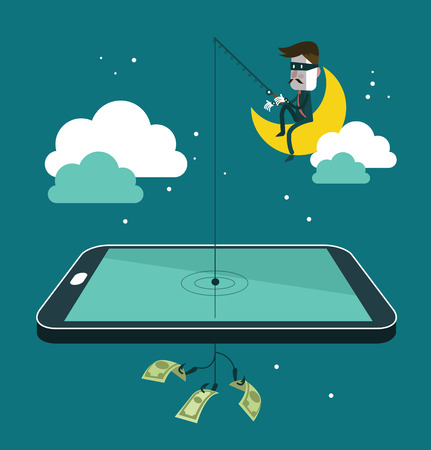 Social network thief stealing money by fishing dollar banknote from wallet on screen of smart phone. Flat design vector illustration