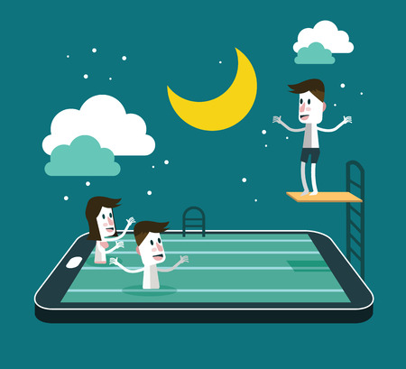 Swimming and Jumping in smart device pool. social network and relaxing abstract concept. flat design vector illustration 向量圖像