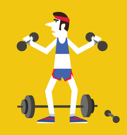 Retro man holding dumbbells and squats ,Exercising healthy concept. flat vector illustration Vector