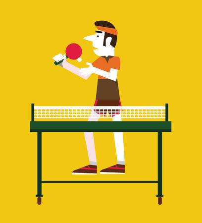 pingpong: Retro hombre sosteniendo una pelota y una mesa de ping pong. Deporte y concepto retro. carácter plana. ilustración vectorial