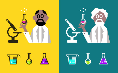 Scientist Holding A Flask With Fluids. flat character design. vector illustration Vector