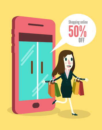 smartphone business: Women shopping online by smartphone. Business and e-commerce concept. vector illustration