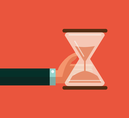 Hourglass timer concept for business deadline and leadership. flat design vector