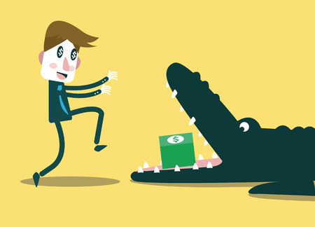 booby: Businessman running to money in crocodile\ Illustration
