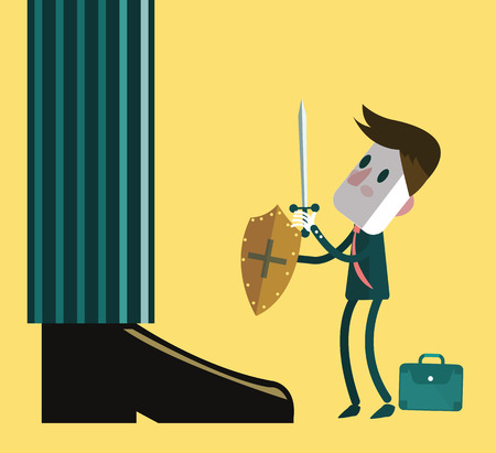 Little small Businessman fighting with the giant legs of businessman. vector illustration