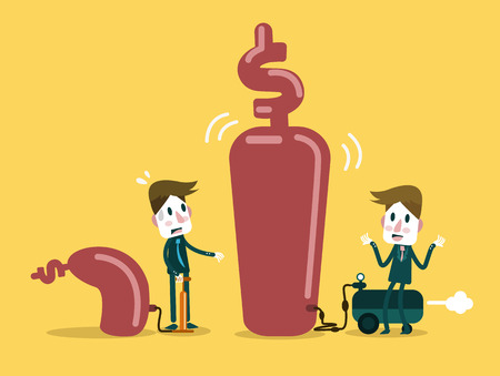 inflating: Two businessman pump up Business. Business growth and competition concept design. vector illustration