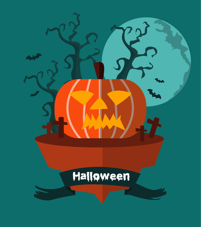 grinning: Halloween land. Night background with Grinning pumpkin. flat design. vector illustration