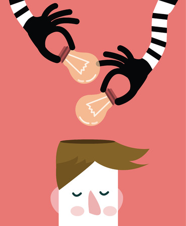 give and take: Hands stealing idea light bulbs from head, flat design. vector illustration